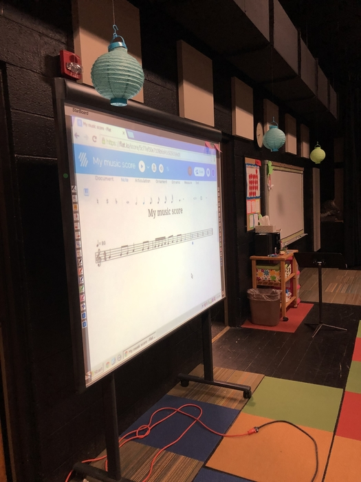 Technology is awesome!  I composed this score online while students watched!