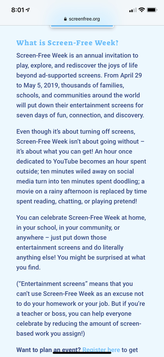 Screen-Free Week general info