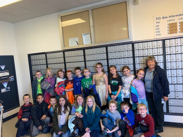 Mrs. Dust/Miss Cochran's class walked to the post office today to mail friendly letters and learn about the postal service!